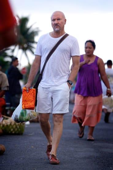 Robert Oliver at Apia's market.