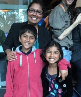 Abhishek, 8, and his sister Deepika, 6, with their mum at Robotronica.
