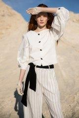 Blanca blouse white, Arnsdorf $260; Andreas pant, Elka $229; belt, Nevenka; Luxe loafer, Essen $374.