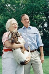 Then vice-president George H.W. Bush and Barbara Bush talk to reporters outside their home in Washington DC, 1988.