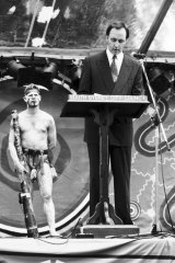 Former prime minister Paul Keating delivers a speech in Redfern, Sydney, to mark the International Year of the World's Indigenous People in 1992.