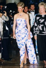 Diana at a Bicentennial dinner-dance in Melbourne, 1988, in a dress by Catherine Walker.