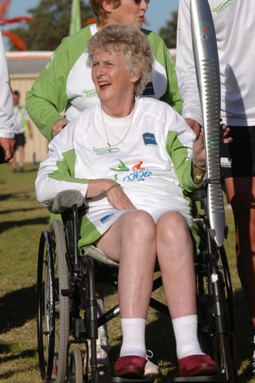 Golden Girl, Betty Cuthbert, AM, with the Melbourne 2006 Commonwealth Games Queen's Baton in Mandurah, Western Australia.
