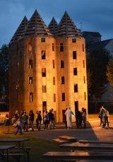 Cardboard creations built in Etampes, France, in 2014.