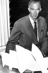 A solemn Jorn Utzon with a model of the Sydney Opera House in his office in 1966.