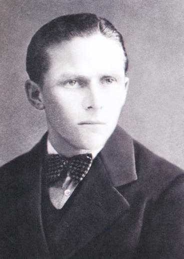 """Andras Jasso as a young man. An inscription on the back of this photograph reads: """"Memories. To my beloved father from your son. Schwanenstadt (Austria) 1940."""""""