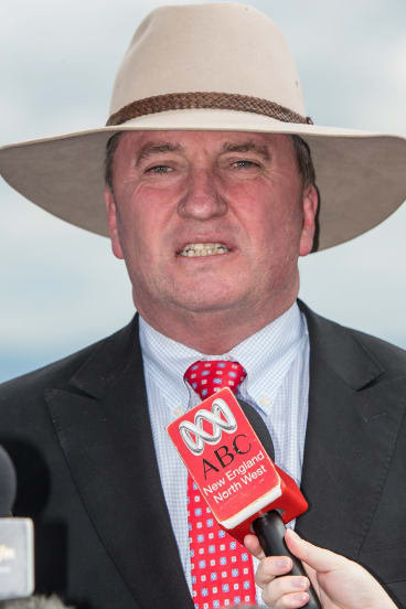 Barnaby Joyce at a press conference in Tamworth following the verdict.