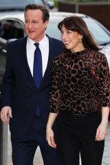 Leaders debate: David Cameron with wife Samantha Cameron.
