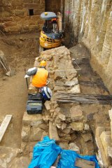 The Gaol Bridge pier has been scientifically conserved and will remain buried under the portal floor.