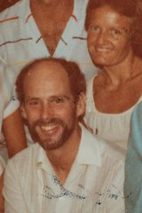 Jennifer Herrick (pictured on right) who was 22 years old when she was a victim of abuse by priest Tom Knowles (pictured at front). This photo was taken at a housewarming with relatives around 1981 when Jennifer was 27 or 28.