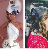 Examples of designs by Danica Erard that she claims have been copied by other milliners and manufacturers.