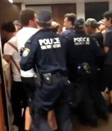 Video of the clash showed police forcibly removing students from Fisher Library.