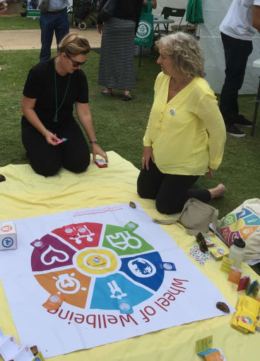 Jan Elston,right, at work with the Wheel of Wellbeing at a community event.
