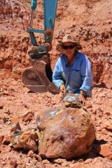 """Sue Cooper with a boulder that has been split to reveal """"colour"""". There's no guarantee, even when boulders are next to each other."""