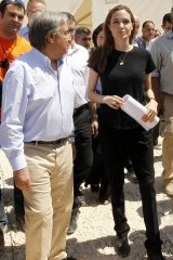UN High Commissioner for Refugees Antonio Guterres, with actress Angelina Jolie, the UN refugee agency's special envoy.