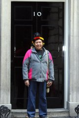 Davi Kopenawa takes a message to 10 Downing Street in 2007.