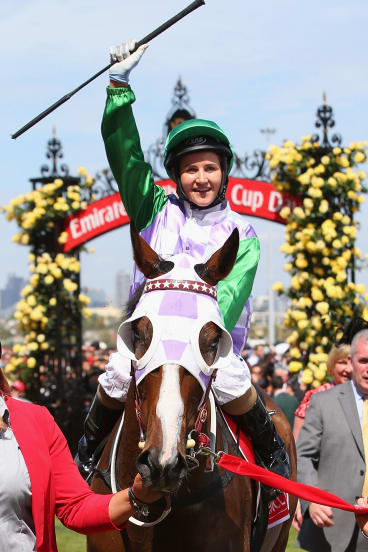 Michelle Payne riding Prince Of Penzance returns to scale after winning the Melbourne Cup.