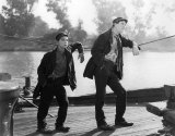A scene from the 1928 film Steamboat Bill, Jr.