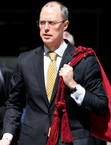 Solicitor-General of Australia, Dr Stephen Donaghue QC, leaves the High Court on Thursday.