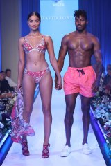 Shaik modelling swimwear with her fiance DJ Ruckus at the David Jones Spring Summer 2017 fashion show on Wednesday.