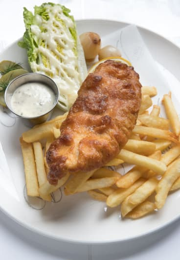 Fish and chips at the Cricketers Bar at the Windsor.