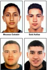 Moussa Oukabir, Said Aallaa, Mohamed Hychami and Younes Abouyaaqoub, who are suspects wanted in connection with the Spanish attacks.