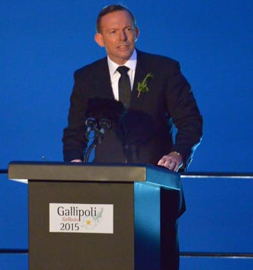 Tony Abbott addresses the dawn service at Gallipoli.
