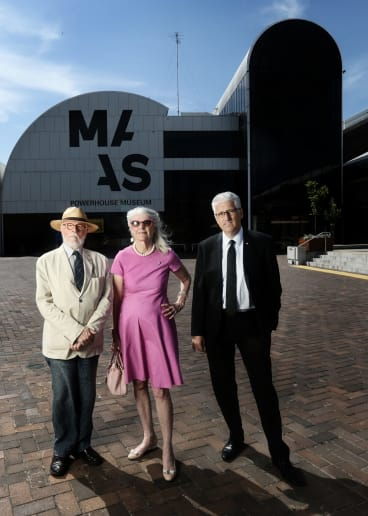 Clive Lucas, Penelope Seidler and Nick Pappas outside the Powerhouse Museum.They are against the relocation of the Museum to Parramatta.