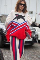 Ugly jumper fetishists unite ... stylist Christine Centenera at Gucci's Paris show last October.