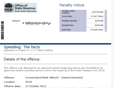 A copy of the fake penalty notice.
