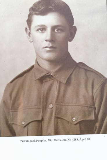 Private Jack Peoples, 58th Battalion, No 4288. Aged 18.