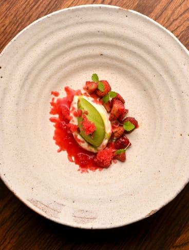 Strawberry granita, basil sorbet and white chocolate ganache.