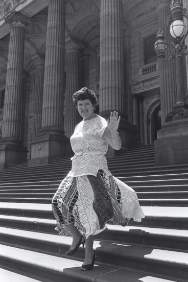 Joan Kirner leaves Parliament House, Melbourne after elected Victoria's first female deputy premier.