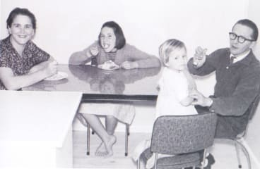 (From left) Iren, Judy, Liz and Andras Jasso at the family's kitchen table in Downer, circa 1963.