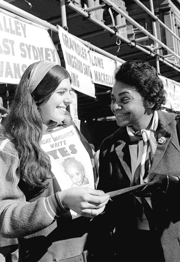 Faith Bandler during campaigning in 1967 for the referendum that would recognise full citizenship rights of Aborigines.