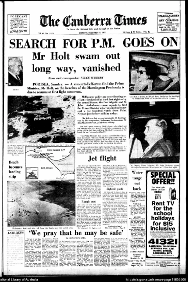 The Canberra Times front page from December 18, 1967.