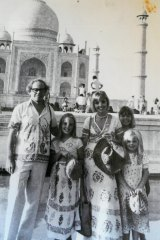 """The Harcourt family at the Taj Mahal in 1977: """"Every holiday was a family adventure."""""""