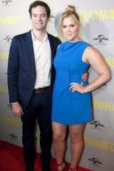 Bill Hader and Amy Schumer at the Trainwreck premiere in Melbourne last year.