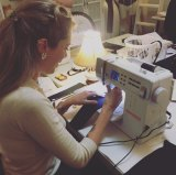 Tara Moss at work on a corset.