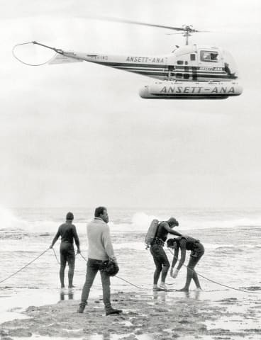 The search for Harold Holt at Cheviot Beach.