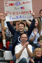 Voters for Independent candidate Evan McMullin shows their support during a rally in Draper, Utah.