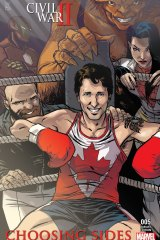 Canadian Prime Minister Justin Trudeau in the Choosing Sides Marvel cover by artist Ramon Perez.