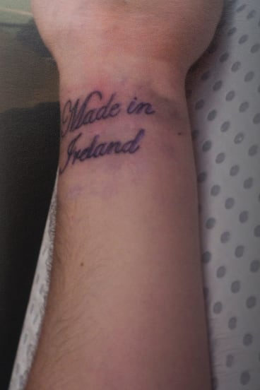 The tattoo on Paul's inner wrist. He was born in the European country before moving to Australia with his parents.
