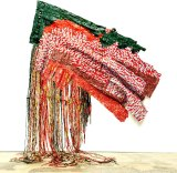 "Artist El Anatsui's work made up of bottle tops and discarded items is on exhibition at Carriageworks: pictured is ""Awakened""."