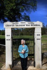 Simple statement: Joan Matthews at the Chewton war memorial.
