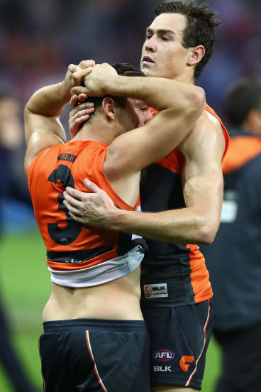 Stephen Coniglio and Jeremy Cameron of the Giants after their 2016 preliminary final loss.