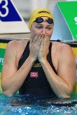 Record-breaker: Cate Campbell celebrates.