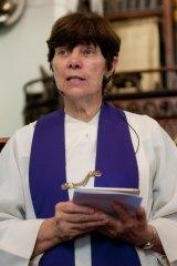 Rev Lyn Burden taking the Easter service at Albert Street Uniting Church on April 14, 2017.