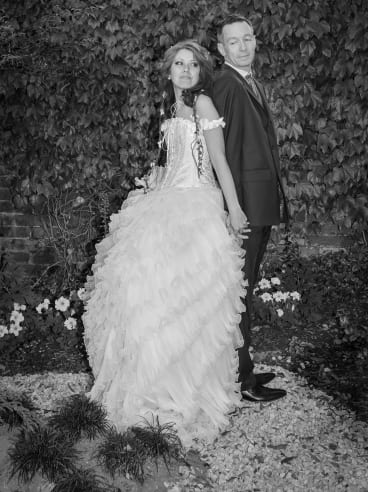 """Linda, in her Vinnies gown, and her husband Jason on the big day. Both vowed: """"I'll do my best."""""""
