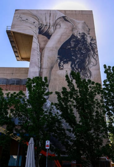 Guido van Helten's mural in Windsor took five days to transfer to the wall using spray paint, acrylics, paint brushes and a large cherry picker.